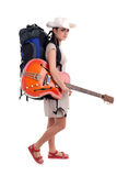 Young female tourist with electric guitar Royalty Free Stock Photo