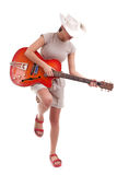 Young female tourist with electric guitar Stock Photos