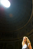 Young female tourist inside the Pantheon in Rome Royalty Free Stock Photography