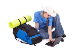 Young female tourist with laptop Royalty Free Stock Photos
