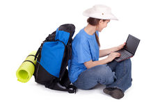 Young female tourist with laptop Stock Photos