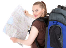 Young female tourist with map Stock Images
