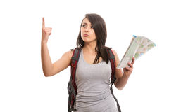 Young female tourist with map. Isolated Stock Photography