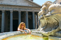 Young female tourist near the Pantheon in Rome Stock Photography