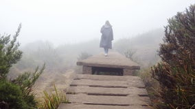 Young female tourist at raincoat walking upstairs of rocky bridge outdoor. Woman going up on stone stairs during stock footage