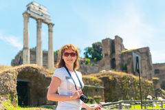Young female tourist in the Roman Forum in Rome Stock Photos
