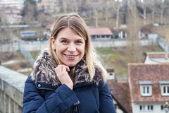 Female tourist in Bern, Switzerland Royalty Free Stock Image