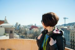 Young female tourist travelling Barcelona Stock Photos