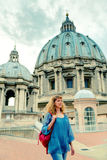 Young female tourist walks through the roof of the Saint Peter's Royalty Free Stock Photography