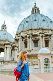 Young female tourist walks through the roof of the Saint Peter's Stock Photos