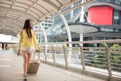 young Female traveler in Bangkok city Stock Photo