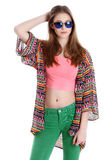 Young female traveler in sunglasses Royalty Free Stock Photo