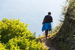 Young female trekker Royalty Free Stock Photo