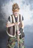 Young female tribal warrior Stock Photography