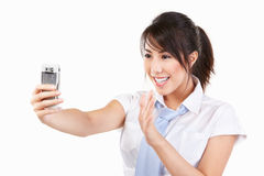 Young female using cell phone Stock Photo