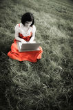 Young female using a laptop in nature Stock Photography