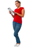 Young female using tablet pc Royalty Free Stock Photos