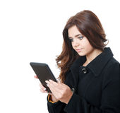Young female using tablet pc Stock Image