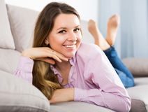Young female is using various poses having good time Stock Photo