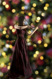 Young female violin player. Young asian female violin player, xmas lights in the background Stock Photography