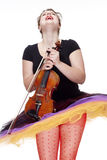 Young Female Violin Player in Colorful Skirt Dancing Royalty Free Stock Image