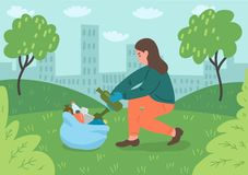 Young female volunteer cleaning city park. Vector illustration vector illustration
