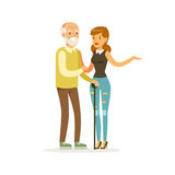 Young female volunteer helping and supporting elderly man, healthcare assistance and accessibility colorful vector. Illustration on a white background vector illustration