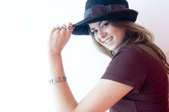 Young Female Wearing Hat Royalty Free Stock Image