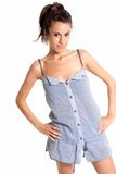 Young female wearing pajamas happy isolated. On white background Royalty Free Stock Photography