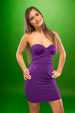 Young Female Wearing Sexy Violet Portrait Royalty Free Stock Photography