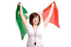 Young Female With Italian Flag, Isolated On White Royalty Free Stock Images