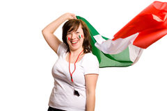 Young Female With Italian Flag, Isolated On White Royalty Free Stock Photo