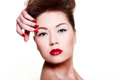 Young female woman with bright make-up Royalty Free Stock Image