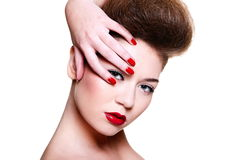 Young female woman with bright make-up Royalty Free Stock Images