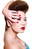 Young female woman with bright make-up Stock Images