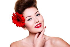 Young female woman with bright make-up Royalty Free Stock Photography
