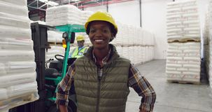 Young female worker in a warehouse stock video footage