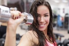 Young female working out with dumbbells in a gym Royalty Free Stock Image