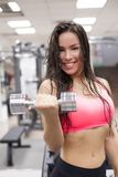 Young female working out with dumbbells in a gym Royalty Free Stock Photo