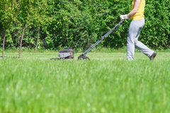 Young female in yard - pushing grass trimming lawnmower Stock Photography