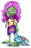 A young female zombie. Lllustration of a young female zombie on a white background Royalty Free Stock Images