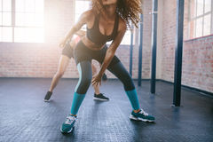 Young females doing running workout in the gym. Royalty Free Stock Photography