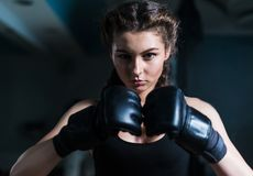 Young fighter boxer girl wearing boxing gloves before  training Stock Photos