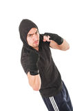 Young fighter man wearing black hoodie Royalty Free Stock Photo