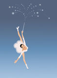 Young figure skater with magic wand. Winter sport invitation card Royalty Free Stock Image