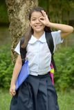 Young Filipina Student Child Searching Wearing School Uniform. A pretty young asian female stock photos