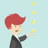 Young financier profits from first transaction. Businessman in business suit catching hand coins Stock Photography