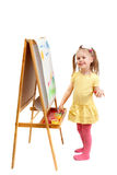 A young fingers artist at drawing easel Royalty Free Stock Image