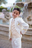 Young First Communion boy smiling looking at camera Stock Image