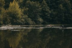 Young fisherman in a boat. Autumn landscape Stock Photo